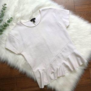 J. Crew | White Structured Peplum Blouse Top Shirt